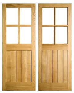 Half Glazed 4 Pane Door in Solid Oak. In stock at venables brothers ltd.